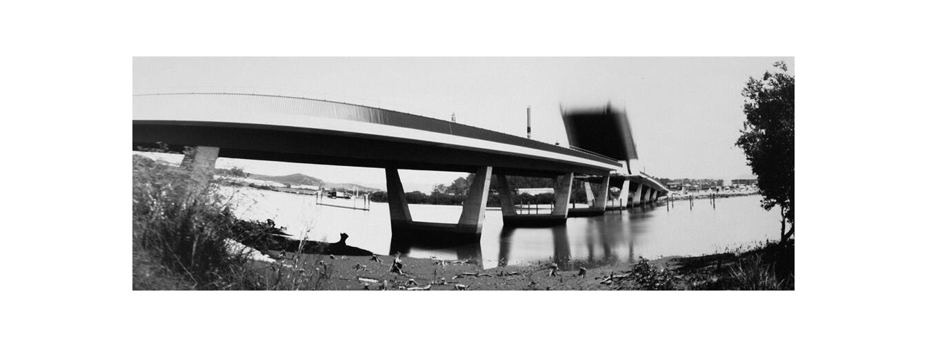 Test pinhole photograph by Diane Stoppard of Te Matau o Pohe Bridge