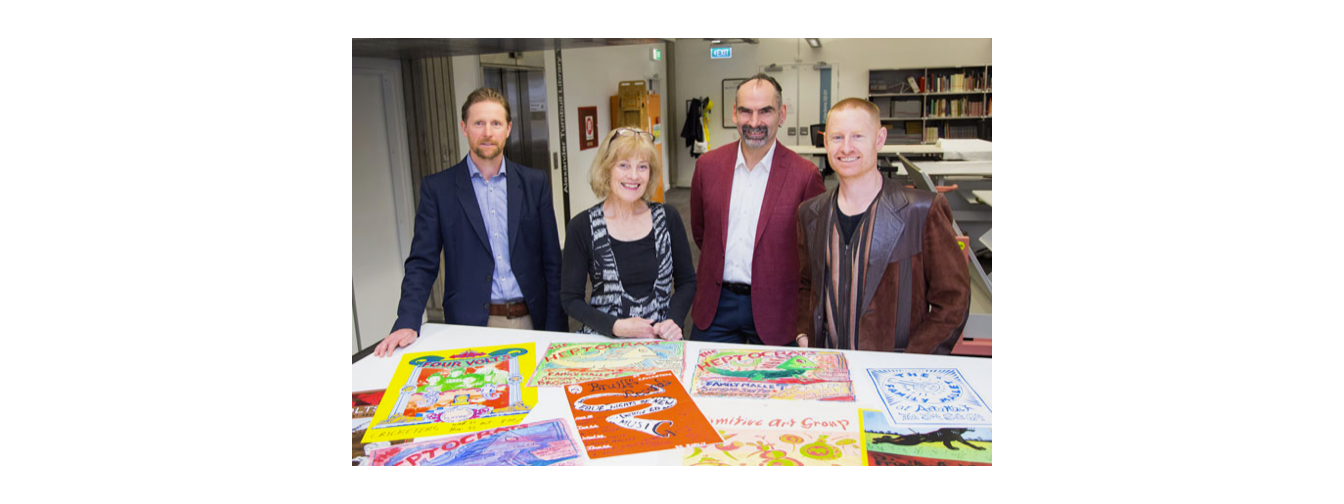 Caption: Alexander Turnbull Library curators (left to right), Michael Brown, Barbara Lyon and Keith McEwing with Lilburn Research Fellow Daniel Beban. Photo by Mark Beatty, National Library of New Zealand Te Puna Mātauranga o Aotearoa.