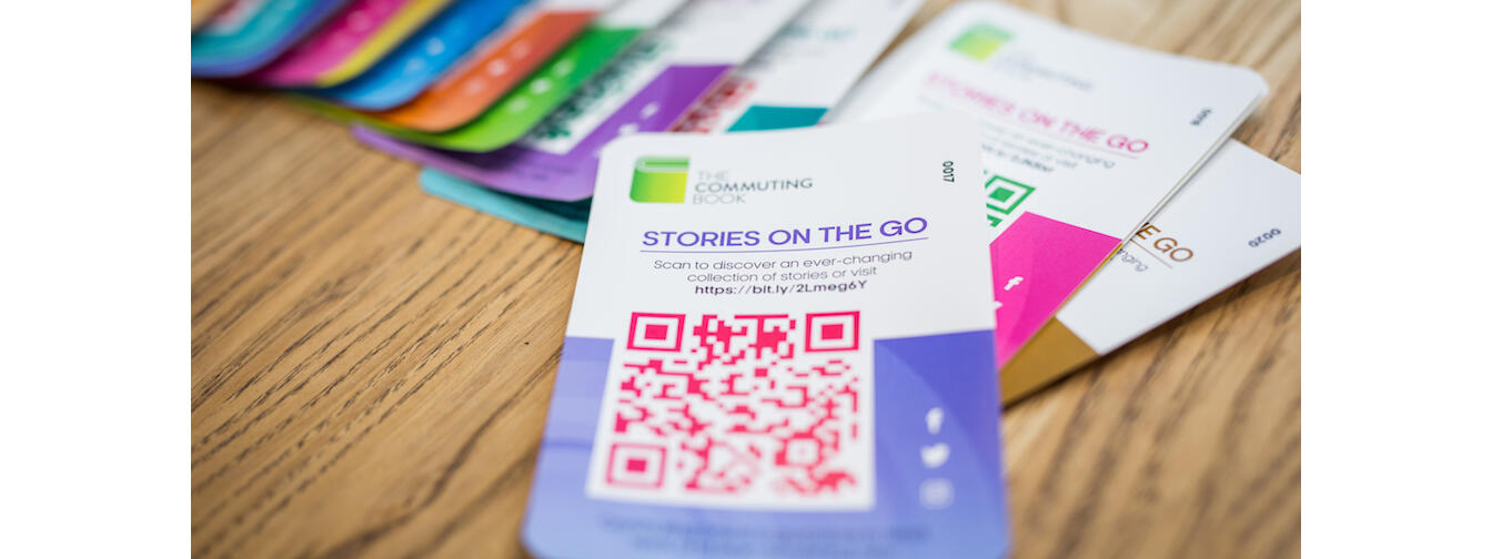 Commuting Books QR stickers. Photo by Erica Austin, Peanut Productions Photography