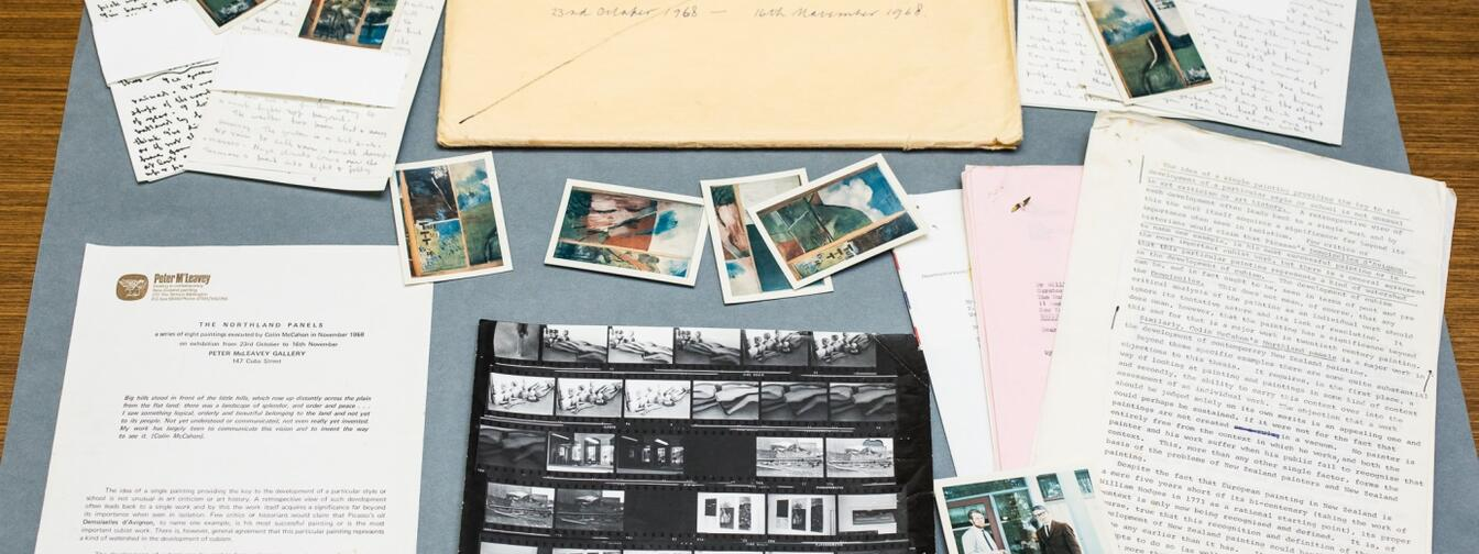 Contents of exhibition file number 2. - McCahon's Northland Panels 1968, featuring photographs, correspondence from McCahon and promotional material from the Gallery. Photos by Mark Beatt