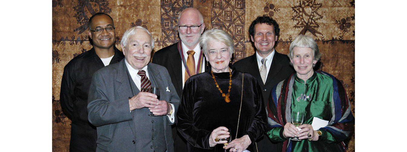 Verna and Denis Adam with Oscar Kightley, Tom Scott, Dave Armstrong and Tanya Ashken at the 2006 Award for Patronage at Government House, Auckland.  Photo- Scott Venning