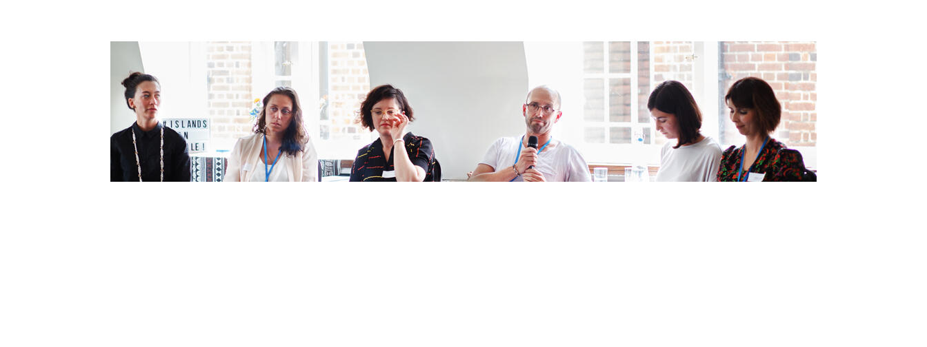 Panel facilitated by Contemporary HUM with (from left): artists Bridget Reweti and Erena Baker from Mata Aho Collective, Tessa Giblin (Commissioner, Ireland at Venice 2017), Alastair Carruthers (Commissioner, New Zealand at Venice 2017). Image: Crystal Te Moananui-Squares.