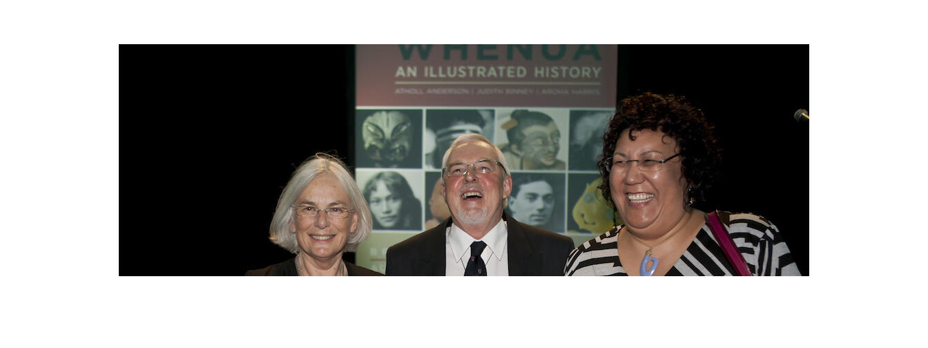 Bridget Williams, Atholl Anderson and Aroha Harris at the launch of Tangata Whenua in 2014.  Image-Aaron Smale/BWB