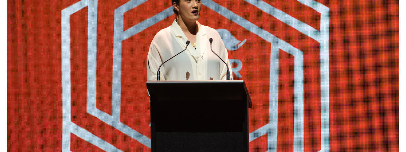 Ria Hall speaking at the APRA Silver Scrolls. Topic Images / James Ensing-Trussell.
