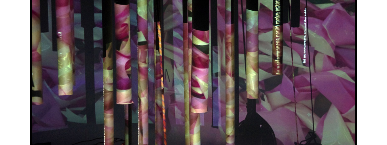 At night they become a three-dimensional cinematic screen for a choreographed sequence of projections derived from re-using and re-thinking waste materials.