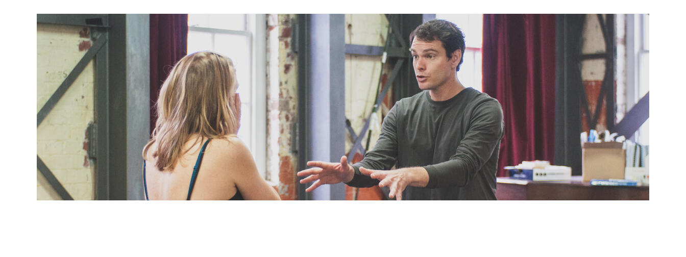 The cast and crew during rehearsals for Lungs at Circa. Photo / Brenna McGuinness