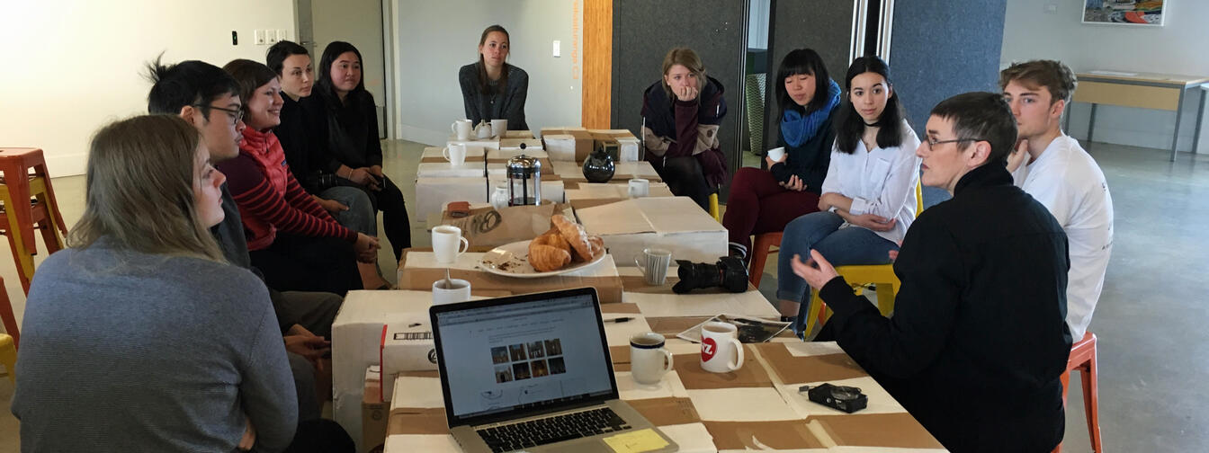 Christchurch artist Julia Morison (front right) working with the School of Design crew at Massey University College of Creative Arts in Wellington.