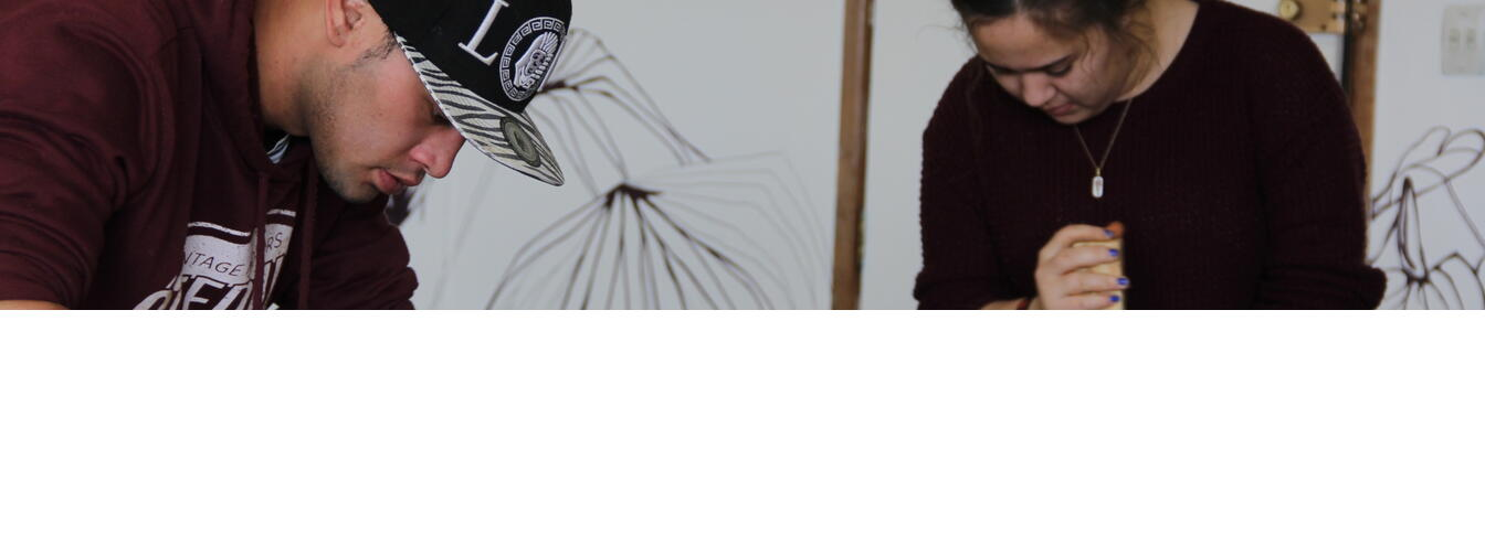 Youth Designers, Te Teira and Rakky experimenting with clay
