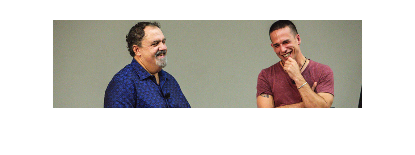 Producer Jon Landau (left) at the Big Screen Symposium 2015. Photo / Soane Tonga for BSS15