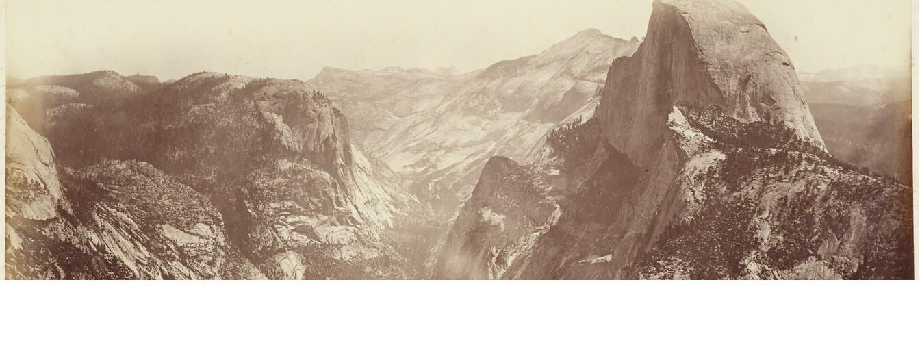 The Half Dome from Glacier Point, Yosemite Watkins, Carleto, 1865-66, black and white photograph, albumen print