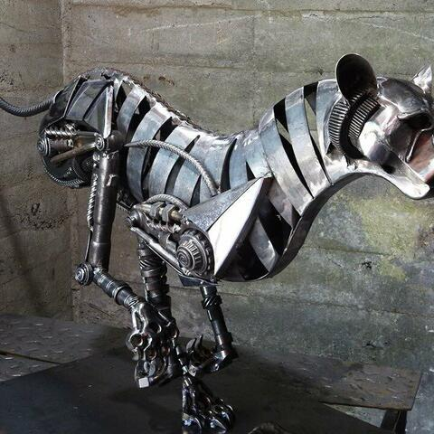 metal sculpture, recycled