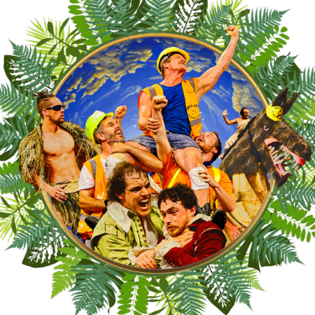 A Midsummer Night's Dream Show Tile includes the mechanicals in the background, one of them is being raised up and cheered for. The donkey is on the right and a Maori fairy is on the left. In the front Lysander and Demetrius are fighting. The pictured is framed by leaves, ferns and greenery.