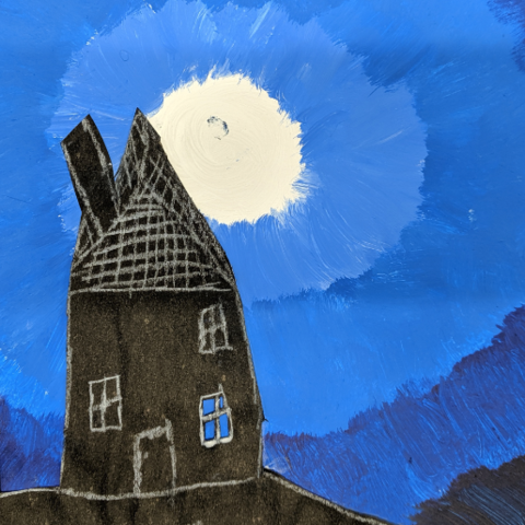 Painting, of two black houses with white outlines and a white full moon in a blue sky.
