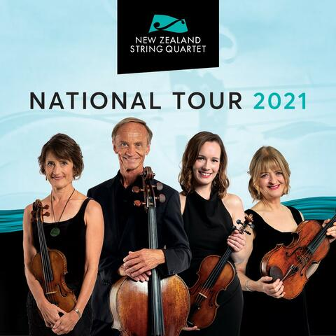 Helene, Rolf, Monique and Gillian dressed in black standing with their string instruments smiling at the camera.
