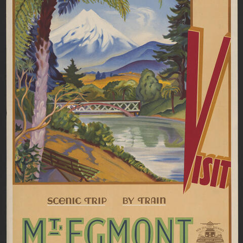 1930s NZ Railways Publicity Office poster featuring Pukekura Park in the foreground.  (Retrieved from the Library of Congress, https://www.loc.gov/item/2015647603/)