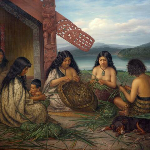 Gottfried Lindauer, Maoris Plaiting Flax Baskets 1903, oil on canvas, Auckland Art Gallery Toi o Tāmaki, gift of Mr H E Partridge, 1915