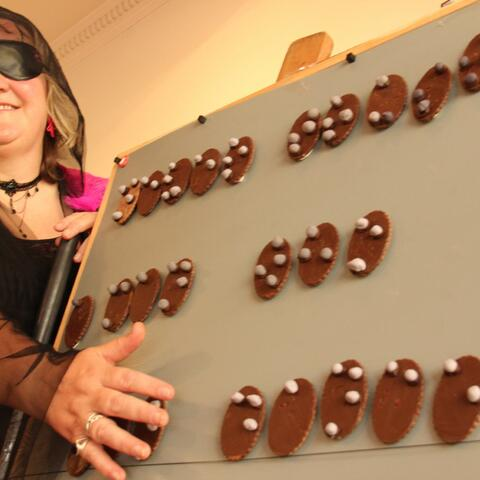 Julie Woods aka That Blind Woman and her braille biscuits