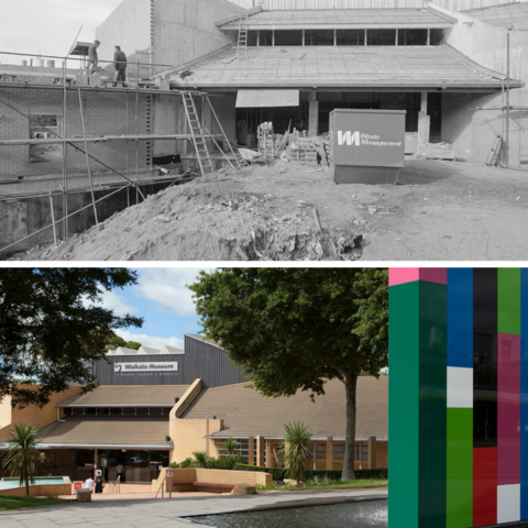 Images: Waikato Museum of Art and History toward the end of its construction, circa 1987, and Waikato Museum Te Whare Taonga o Waikato front entrance with Michael Parekowhai's Tongue of the Dog sculpture, 2017. Collection of Hamilton City Libraries HCL_M01664.53 / Dan Inglis, archive of Waikato Museum Te Whare Taonga o Waikato.