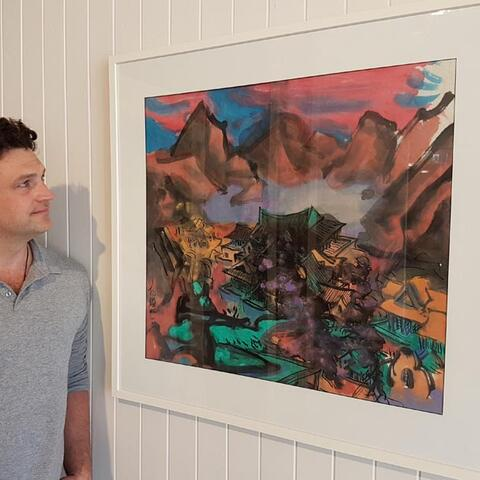 Dylan Potocki of Potocki Paterson Gallery in Wellington with the Rossano Fan artwork to be auctioned