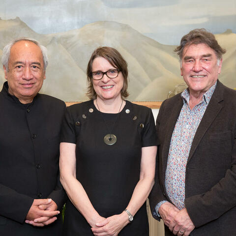 Recipients of the 2017 Prime Minister's Awards: Witi Ihimaera, Paula Green, Peter Simpson.