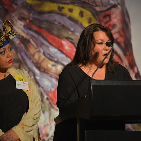 Deidre Dahlberb and Soraya Edwards, Pablos Arts Studios, receive the Arts Access Holdsworth Creative Space Award 2017