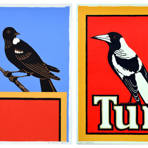 Robin White, Magpie 7/10, Tui 7/10, 2011, from the Bird Watching series, Courtesy of the artist and Peter McLeavey Gallery. (This artwork is for the prize draw.)