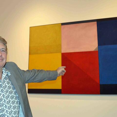 Auctioneer Mike Perry, working pro-bono for Aratoi, with Milan Mrkusich Triptych Homage to Rodchenko 1966