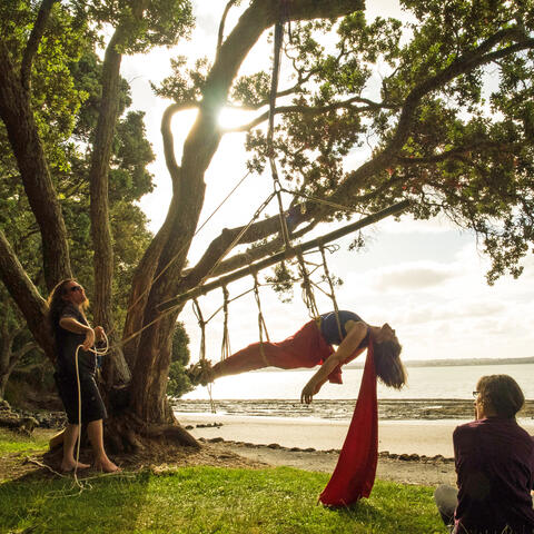 Suzanne Cowan performs Pt Chev Hanging. Photo: Bronwyn Evans