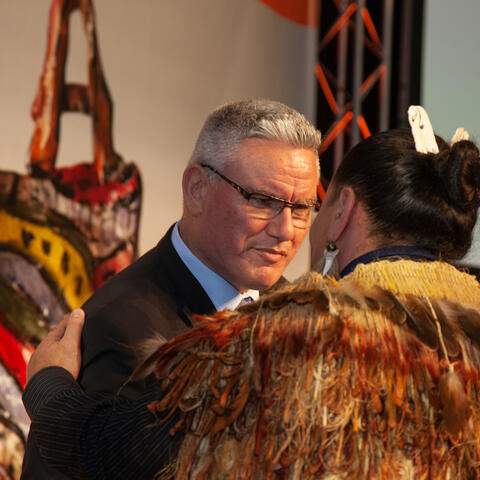 Minister Kelvin Davis presents a Highly Commended certificate in the Mau Tikitiki a Taranga Award to Rue-Jade Morgan Photo: Vanessa Rushton Photography