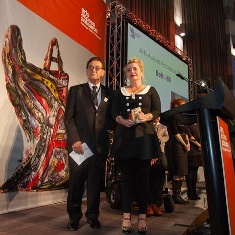 Beth Hill was presented the Arts Access Accolade by Bill Kaua, Arts Access Aotearoa's Kaumatua Photo: Vanessa Rushton Photography