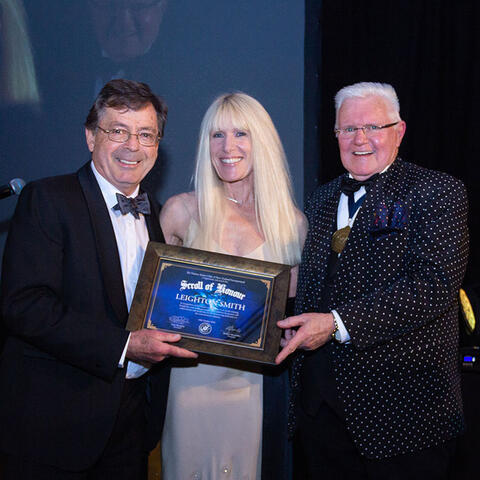 Leighton Smith recipient of a VAC Scroll of Honour, with wife Carolyn Leaney and Patron David Hartnell MNZM