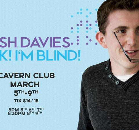 Josh Davies in a flyer promoting his solo show