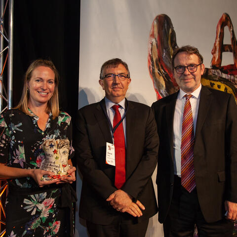 Helen Winskill and David Inns of the Auckland Arts Festival, presented the Arts Access Creative New Zealand Arts For All Award 2018 by Stephen Wainwright, CE, Creative New Zealand Photo: Vanessa Rushton Photography