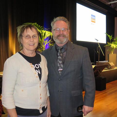 Richard Benge, Arts Access Aotearoa, with fellow judge Judith Jones, Te Papa