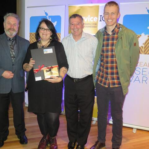 From left, Richard Benge, Executive Director, Arts Access Aotearoa, with Otago Museum staff Rachel Wesley, Craig Grant and Kane Fleury