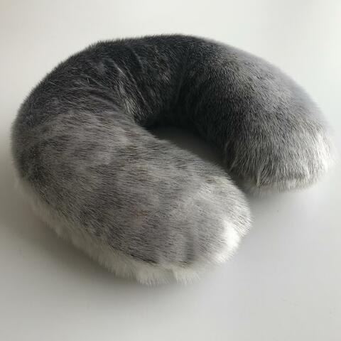 Mark Igloliorte, Seal Skin Neck Pillow (2019), Seal Skin, 33 x 33 x 10cm.