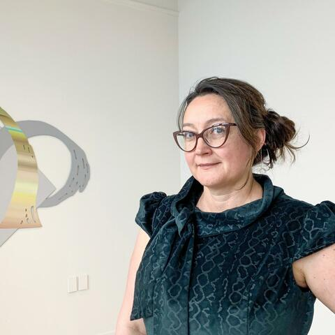 Claudia Avril at her Master of Arts exhibition opening 'Fourth Wall' at Wintec's Ramp Gallery.