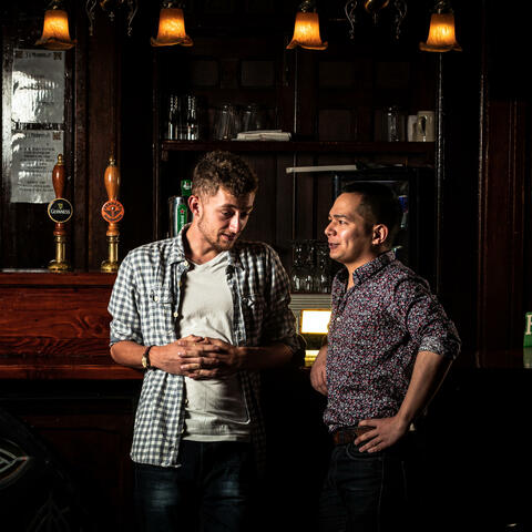 Alex Rabina and Finlay Langelaan in Four Nights In The Green Barrow Pub, Image by Roc+ Photography