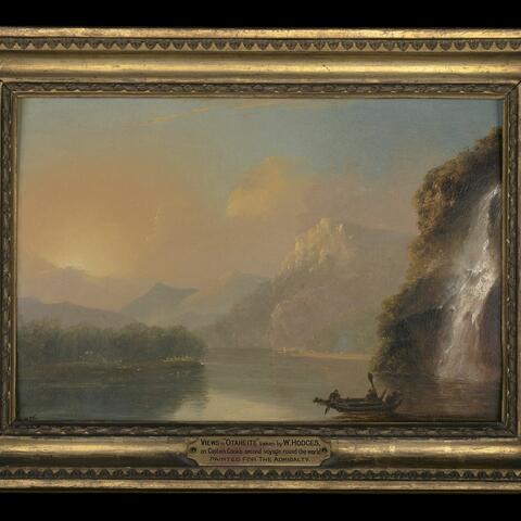 William Hodges, Waterfall in Dusky Bay with Maori canoe, 1776, oil on panel.  Purchased 2019. Te Papa (2019-0003-1)