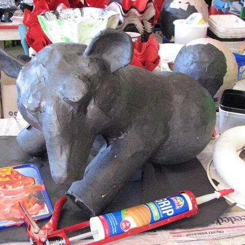 A papier mâché elephant made at Community Art Works in Nelson