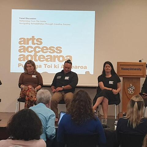 Symposium panel, facilitated by Arts Access Aotearoa
