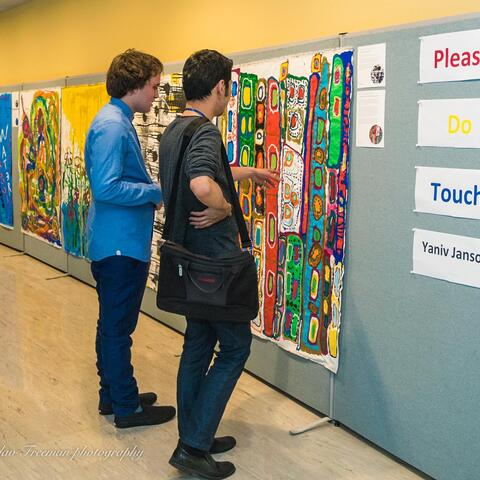 Yaniv Janson and a visitor at Please Do Touch in the UN Headquarters in New York