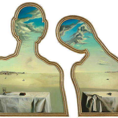 Salvador Dalí, Couple with their heads in the clouds, oil on panel, 1936. Museum Boijmans Van Beuningen, Rotterdam. Purchase with the support of: the Museum Boijmans Van Beuningen Foundation, the Rembrandt Association, the Prins Bernhard Cultuurfonds, the Erasmusstichting and Stichting Bevordering van Volkskracht. Photo: Studio Tromp. © Salvador Dalí, Fundació Gala-Salvador Dalí/VEGAP. Copyright Agency, 2020.