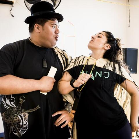 Hosea Tuita'alili and Mapihi Kelland in Nga Manu Roreka. Photo: Philip Merry