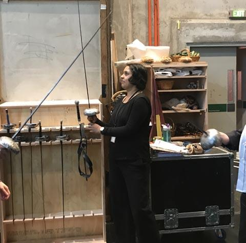 Aine Kelly-Costello and Paul Brown during a touch tour of Romeo and Juliet