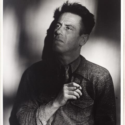 RAK Mason 'Half-length portrait of R. A. K. Mason looking up, holding a cigarette, 1947' by Clifton Firth. Image sourced from the Sir George Grey Special Collections, Auckland Libraries, 34-M663-2.