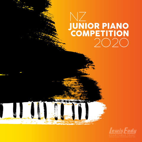 Text 'NZ Junior Piano Competition 2020' on top right corner and Lewis Eady Charitable Trust logo on bottom right corner. Artistic brush artwork of a grand piano on left. All on a gradient yellow to orange background.