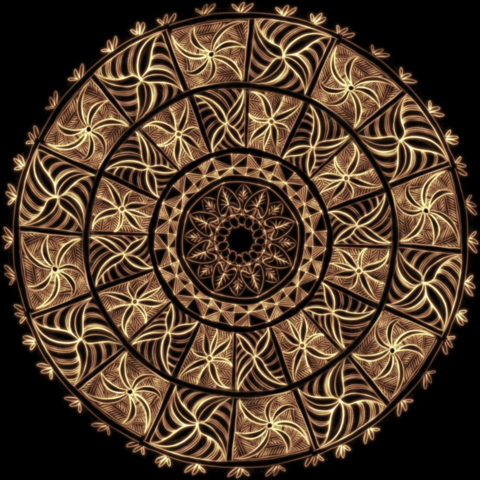 Circular Pasifika design from a new hand painted work by artist Michael Tuffery.