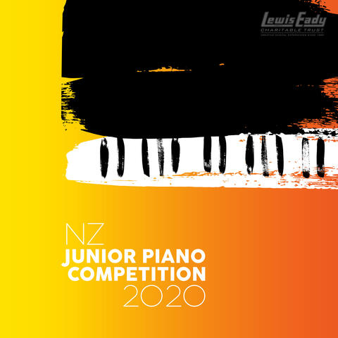 Brush painting of a grand piano on a gradient background of yellow to orange background. Text 'NZ Junior Piano Competition 2020' in white on left corner.