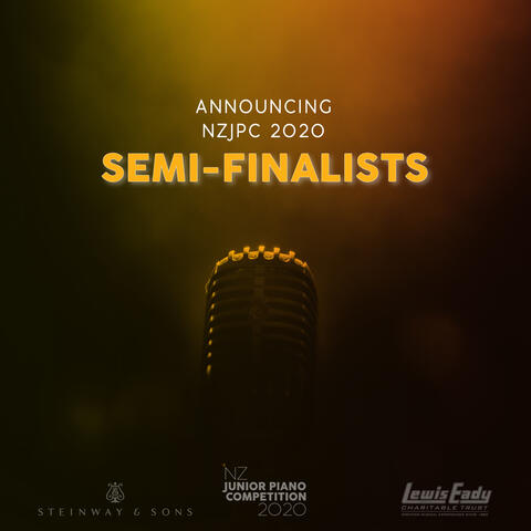 Text 'Announcing NZJPC 2020 Semi-Finalists' above a close up photo of a microphone. Yellow to dark red to black gradient background.